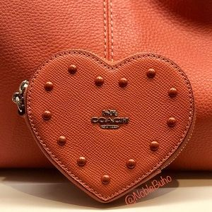 Coach Heart Coin Case with Studs - Wristlet Coral